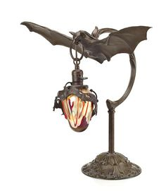 """bookofoctober: """"Today I learned that in early 20th century Austria, bronze & glass bat lamps were a thing (sources in captions) """""""