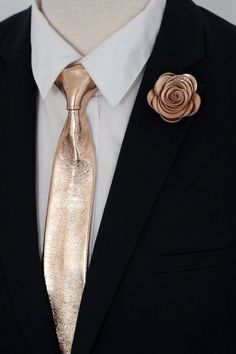 f30ce22e3224 Rose Gold leather pretied clip on neck tie for men, boys rose gold wedding  neck tie, boutonniere genuine leather,boys toddler,cooper by  NevesticaWeddings on ...