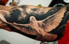 Realistic black and gray Birds tattoo by Denis Sivak