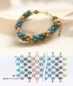 Diamond Duo rope bracelet ~ Seed Bead Tutorials (Japanese site - scroll down and the pictures say it all)