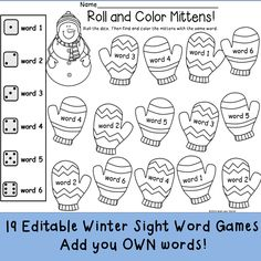 This set includes 19 winter themed game pages to practice the sight words YOU want to reinforce. Perfect for word work stations! All pages are completely EDITABLE so that you can target the words your class is working on! $