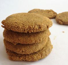 Chewy Ginger Cookies recipe - A thoroughly spiced grain free ginger cookie. The secret is the fresh ginger, and PLENTY of it. (Paleo and vegan with nut free option)