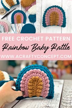 Fully photographed crochet pattern showing how make a crochet rainbow rattle. Includes a video tutorial, step by step photos and written instructions. Crochet Pillow, Crochet Yarn, Crochet Stitches, Free Crochet, Quick Crochet Gifts, Booties Crochet, Tunisian Crochet, Crochet Granny, Lace Knitting