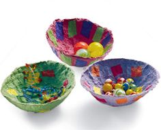 Paper Bowl from Family Fun - papermaking would be a great eco activity, but drying it is time-consuming.  Find instructions from 2010 SRP workshop for making paper bowls. Remember the box of paper scraps in back of your desk.