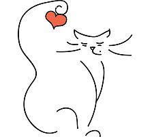 Love Cat by LilCat - cat art Cat Drawing, Line Drawing, Cat Tattoo, Tattoo Animal, Crazy Cats, Rock Art, Cat Art, Painted Rocks, Line Art