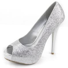 Save 10% + Free Shipping Offer * | Coupon Code: Pinterest10 Material: Man Made Material 4.5 inch heel, 1 inch platform Brand: Deb Product Code: Lorane-39 Silver Glitter Color Sexy peep toe pumps, featuring glittery shinny shoes. Women's Deb Lorane-39 Silver Glitter Peep Toe Pumps