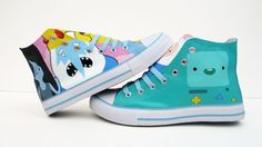 I recently did some more Adventure Time shoes. These ones were a Birthday gift for someone, but I realllly had to fight hard to not keep th. Adventure Time Shoes, Adventure Outfit, Cartoon Shoes, Cool Trainers, Lumpy Space Princess, Finn The Human, Jake The Dogs, Niece And Nephew, Shoe Art