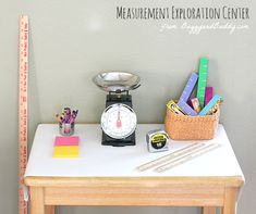 Here's one of our favorite math activities for preschoolers, a simple measurement exploration center- perfect for encouraging all kinds of hands-on learning with various measurement tools!