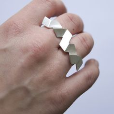 TWO FINGER RING - DV Jewellery - Silver folded geometry