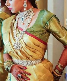 Jewellery Designs: Diamond Jewelry Adorned by South Indian Bride