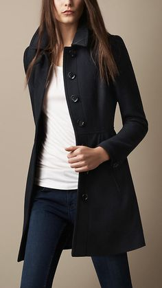 Burberry coat. // simple, classic lines. My penguin pin will look lovely on this one!