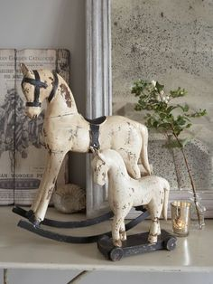 antique toy horses for baby nursery white christmas