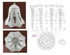 Gorgeous Christmas set of 6 crocheted ornaments. Handmade Christmas ornaments made with high - AmigurumiHouse Crochet Christmas Decorations, Crochet Decoration, Crochet Ornaments, Christmas Crochet Patterns, Crochet Snowflakes, Crochet Lamp, Thread Crochet, Crochet Doilies, Crochet Flowers