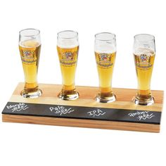 Cal-Mil 2063 Natural Wood Four Compartment Write-On Beer Sampler Tray