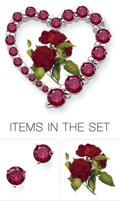 """""""Antique Rose Pin"""" by sjlew ❤ liked on Polyvore featuring art"""