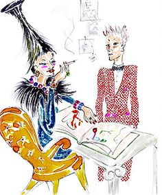 Manolo Blahnik's drawing of his meeting as a young man with Diana Vreeland, taken from Camilla Morton's fairy tale book, The Elves and the Shoemaker.