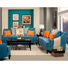 Charm your guests with this retro-inspired 2-piece set and its bright colors. The pairing of blue and orange create an emphasis on the smooth premium fabrics while espresso finished solid wood legs feature subtle nailhead trim outlines.