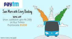 Flat 50% #Cashback on #Bus #TicketsBooking At #Paytm