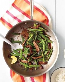 Beef, snap pea, and asparagus stir fry