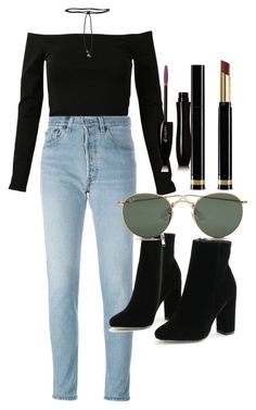 """Untitled #4407"" by olivia-mr ❤ liked on Polyvore featuring RE/DONE, Aamaya by Priyanka, Ray-Ban, Gucci and Lancôme"