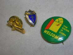 2 Religious Pins Cross Pins Religious Items Blue Enamel Pinback