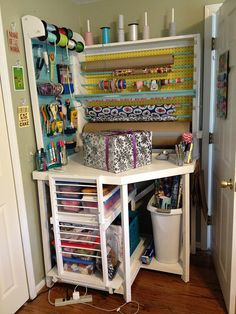 Custom Gift Wrapping Station wow! #craft #hiddenstorage http://www.nichedesignsinc.com/uncover-hidden-storage-event/