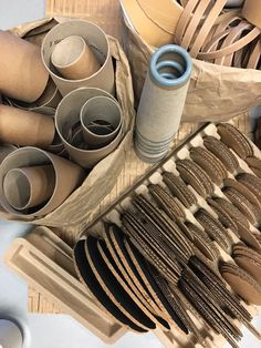 Loose parts ≈≈ cardboard tubes, cutouts and squares. Infant Toddler Classroom, Toddler Fun, Preschool Activities, Play Based Learning, Learning Through Play, Early Learning, Cardboard Tubes, Cardboard Playhouse, Cardboard Crafts