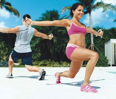 Couples Workout: Team Up to Slim Down. Taking the Lunge: Work chest, arms, abs, butt and legs with this lunge move. #SelfMagazine