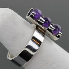 Elis Kauppi for Kupittaan Kulta,  Vintage modernist sterling silver ring with amethyst spheres. #Finland