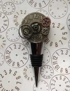 Steampunk inspired clock wine stopper
