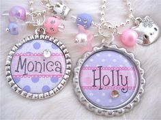 BIG SISTER Little Sister Jewelry, Personalized Children Name Bottle cap Necklace, Personalized Kids name jewelry Hello Kitty Purple Polka dots Pink Polka dots
