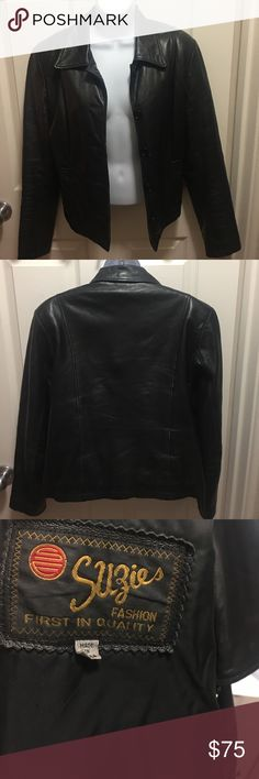 Black Genuine Leather Jacket EUC!! Jackets & Coats Blazers