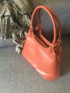 Orange leather tote, Leather bag, Women purse, Leather tote, tote, Leather bag, Laptop bag, Large leather tote