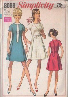 MOMSPatterns Vintage Sewing Patterns - Simplicity 8088 Vintage 60's Sewing Pattern FAB Mod Space Age Band Trim Princess Seams Pleated Front Dress Set Size 12