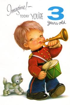 Items Similar To Chubby Cheek Boy Birthday Card For Three 3 Year Old Child Vintage 1960s On Etsy