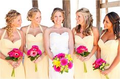 light yellow bridesmaid dresses