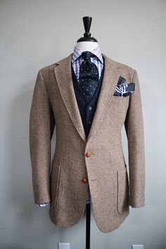 Men's Tweed Blazer with Elbow Patches; love what the pocket scarf does for the shirt and tie!