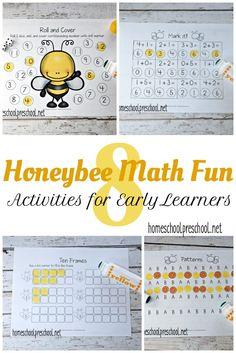These honey bee math activities are perfect for your springtime homeschool lessons. Focus on counting, adding, and number identification with these printable pages. via @homeschlprek