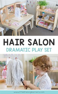 Set up a fun hair salon dramatic play area for your kindergarten and preschool kids! They will love doing each others hair and makeup while developing oral language and social skills. This hairdresser and beauty salon set is the perfect compliment to your Dramatic Play Themes, Dramatic Play Area, Dramatic Play Centers, Preschool Dramatic Play, Role Play Areas, Play Based Learning, Play Centre, Preschool Classroom, Preschool Set Up