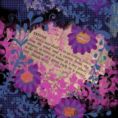 Buy Prints of Quote #5 Refuge, a Digital on Canvas by Jamie Kalvestran from . It portrays: Floral, relevant to: pink, purple, refuge, black, blue This print is one in a series based on quotes selected randomly from the Dictionary of Quotations. The work is created intuitively without any preconceived idea of what will show up on the page.