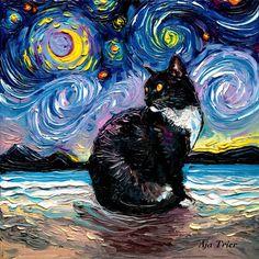 Beach Canvas Art, Beach Art, Canvas Art Prints, Watercolor Print, Watercolor Paper, Starry Night Art, Art Night, Arte Van Gogh, Image Deco