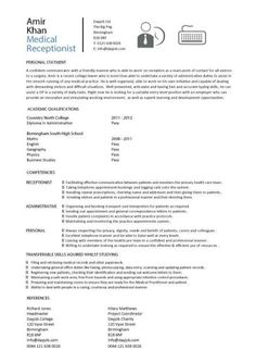 free medical receptionist resume | medical receptionist resume ... - E-resume Examples