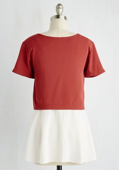 Know a Thing or Twofer Top. Your area of fashion expertise lies in layering, and this tiered top visually articulates your know-how! #orange #modcloth