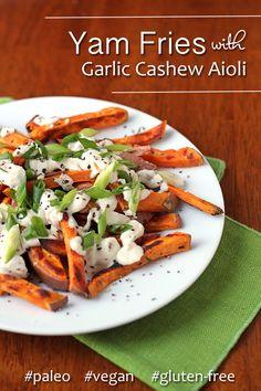 Yam fries with garlic cashew aioli (paleo, vegan, gluten-free) – Food: Veggie tables Healthy Crockpot Recipes, Veggie Recipes, Whole Food Recipes, Healthy Snacks, Vegetarian Recipes, Healthy Eating, Cooking Recipes, Yam Recipes, Kitchens