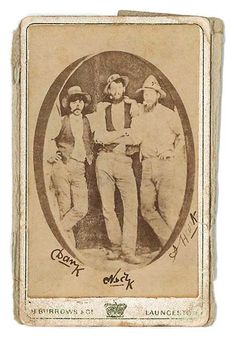 """Upcoming sale at Lawsons Auctioneers. If you have a spare AUD $10-15,000 dollars! """"Kelly Gang Signed Photograph an original carte de visite, pasted down on a Tasmanian photographer's card, then further pasted down to a 1920s Kodak paper, showing Dan Kelly, Ned Kelly & Steve Hart on a verandah, probably at Euroa. This has been signed Dan K, Ned K (in Joe Byrne's hand) & Steve Hart in 1879."""""""
