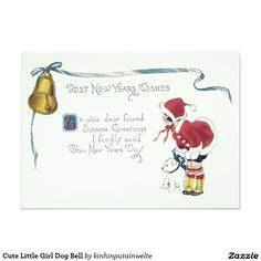 Cute Little Girl Dog Bell 5x7 Paper Invitation Card