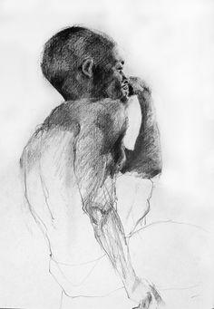 'Shubert' - Life Study drawing by Sabine Weissbach (Cork, Ireland), male…