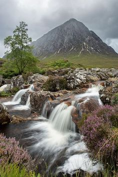 glen and waterfall, Buachaille Etive Mòr, highlands of Scotland