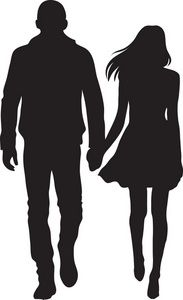 Couple Clipart Image: Silhouette of a couple, a boy and girl holding hands Silhouette Couple, Man And Woman Silhouette, Girl Silhouette, Vogel Silhouette, Silhouette Painting, Silhouette Clip Art, People Holding Hands, Girls Holding Hands, Kid Spaces