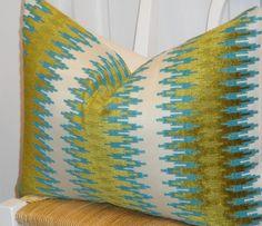 Decorative Pillow Cover - 12 x 20 - Accent Pillow - Throw Pillow - Lumbar Pillow - Teal/Blue - Olive Green. $46.00, via Etsy.